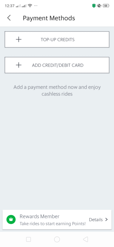 Payment Methods on Android by Grab from UIGarage