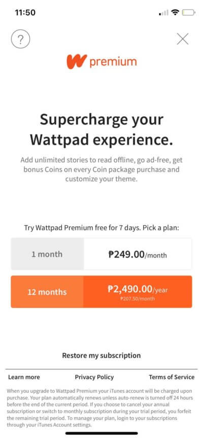 Pricing on iOS by Wattpad from UIGarage