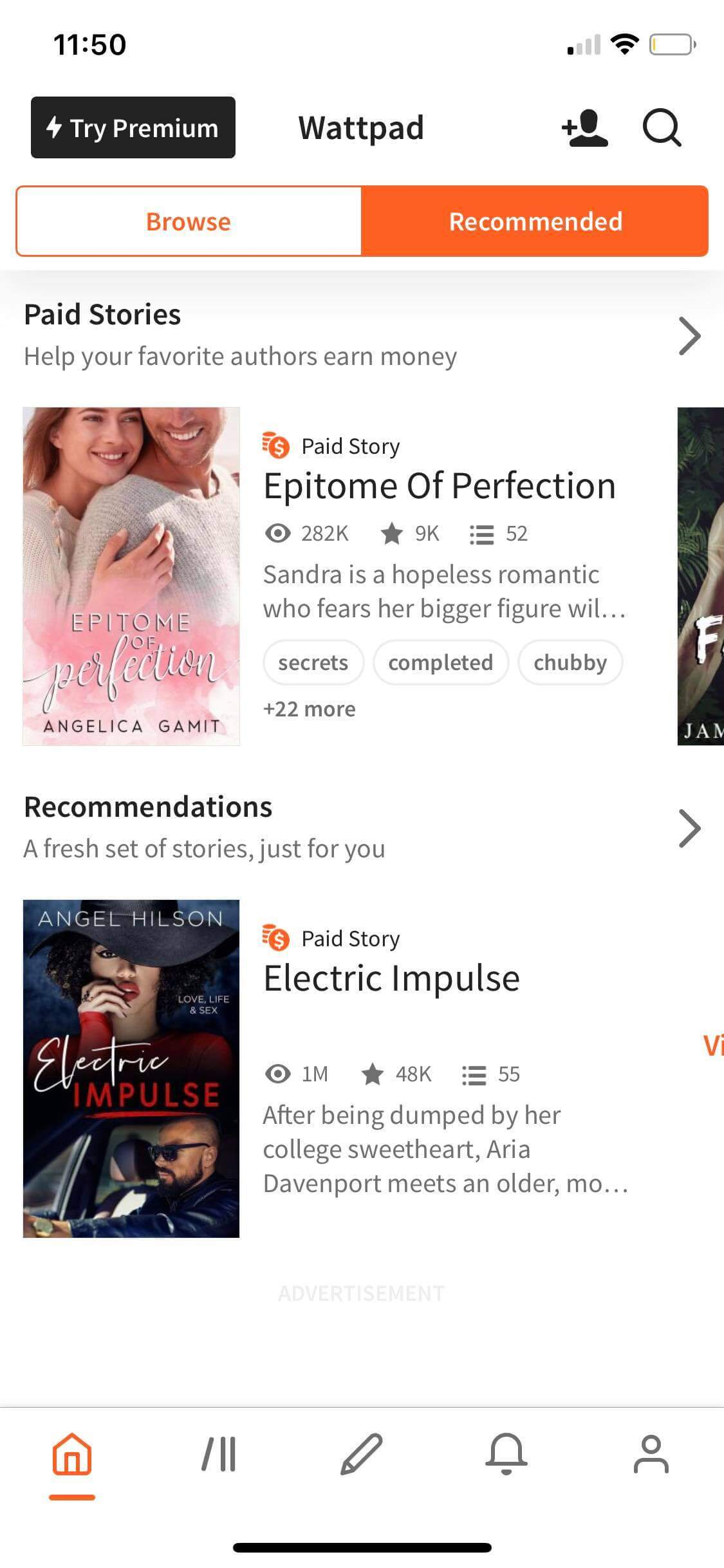 Recommeded on iOS by Wattpad from UIGarage