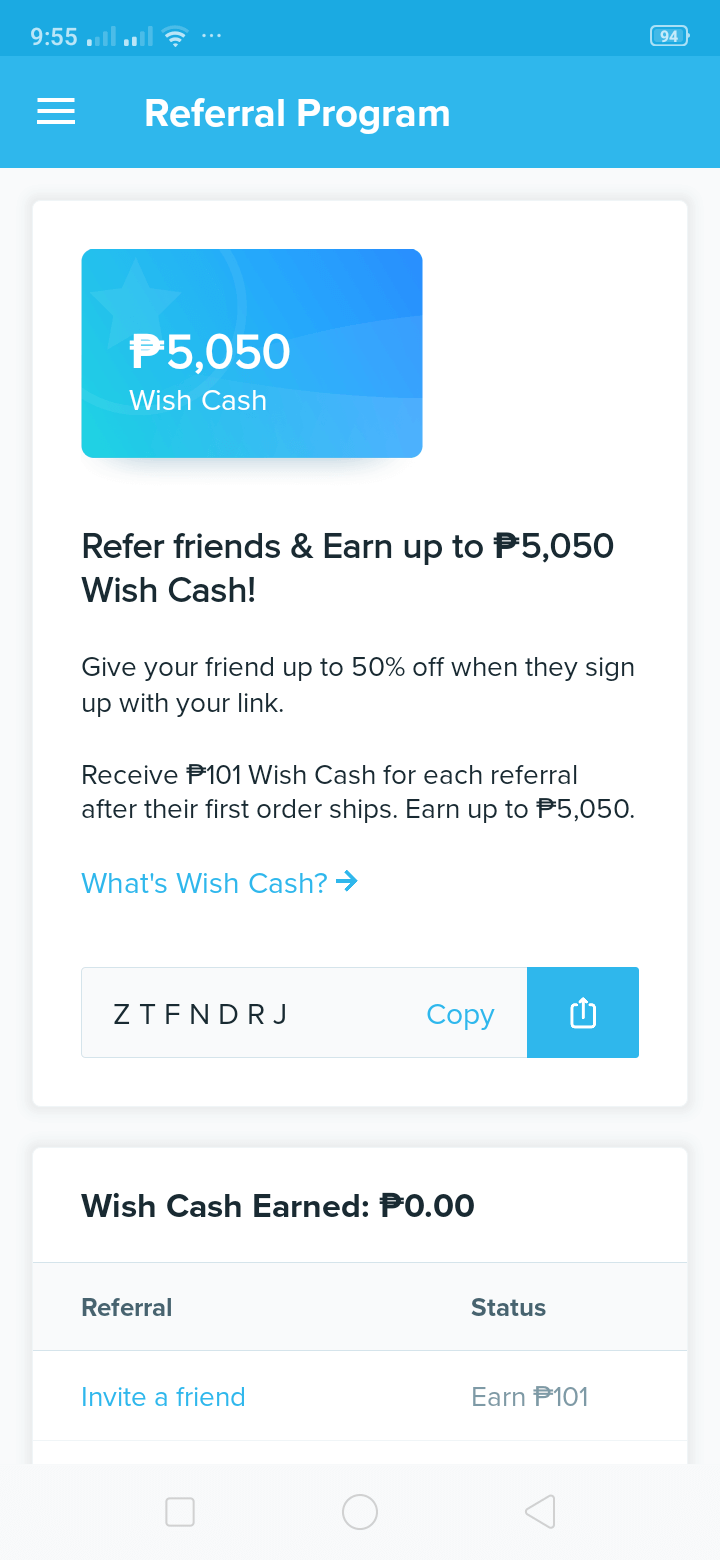 Referral on Android by Wish from UIGarage