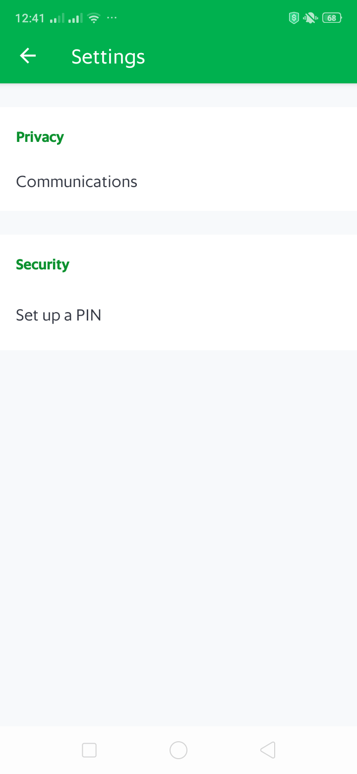 Setting on Android by Grab