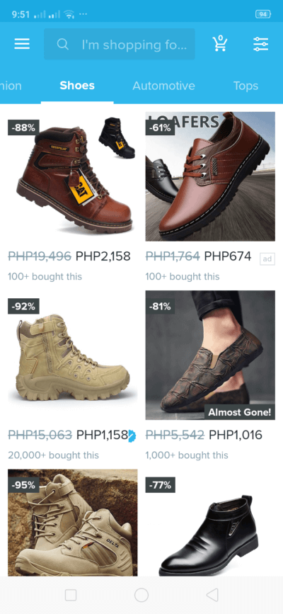 Shoes on Android by Wish from UIGarage