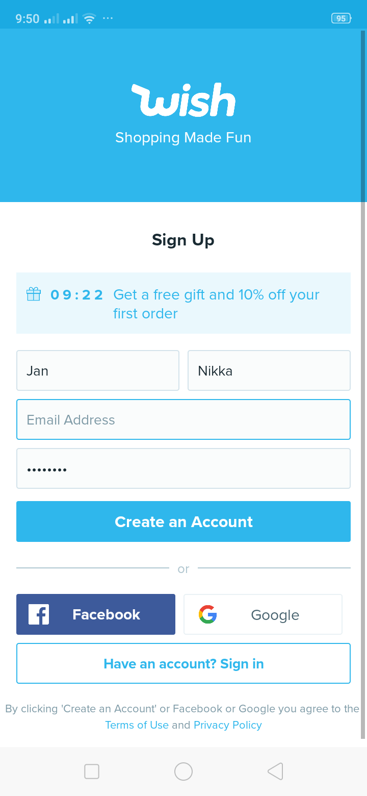 Sign up on Android by Wish from UIGarage