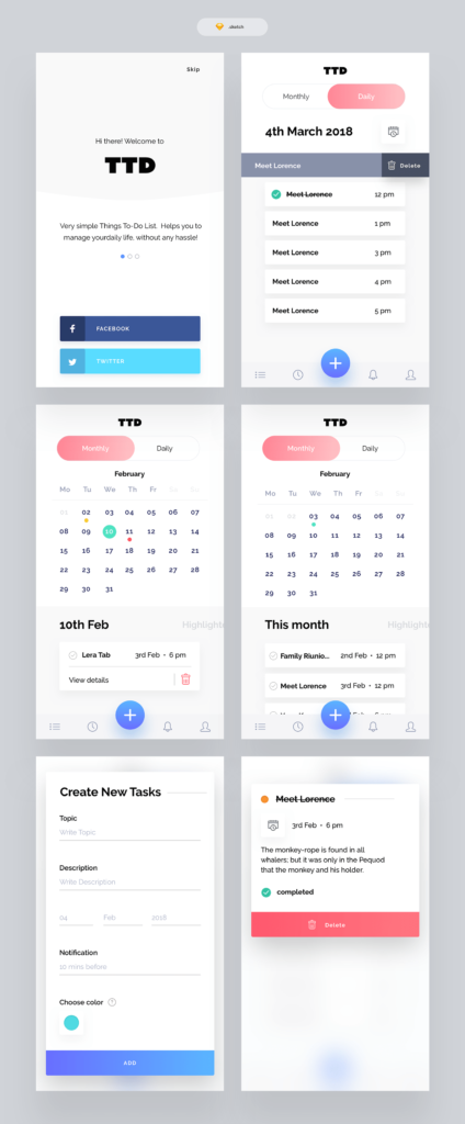 To Do List App Freebie from UIGarage