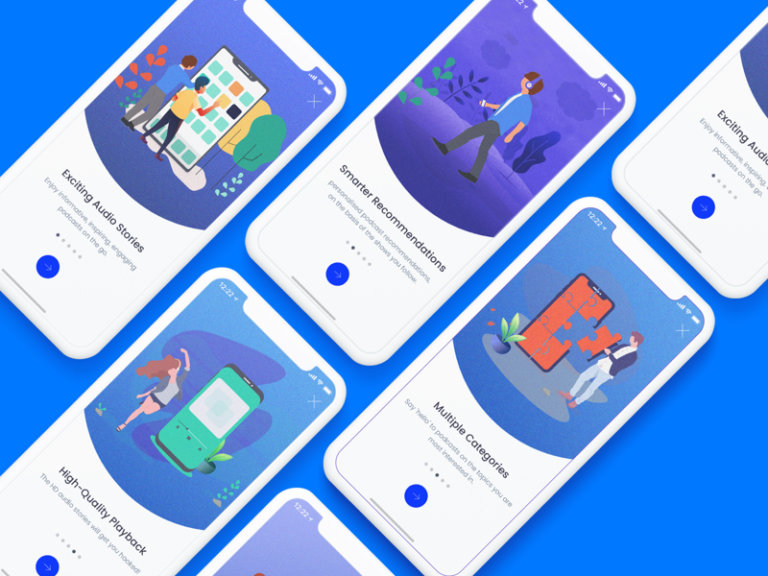 App Onboarding Walkthrough Screens from UIGarage