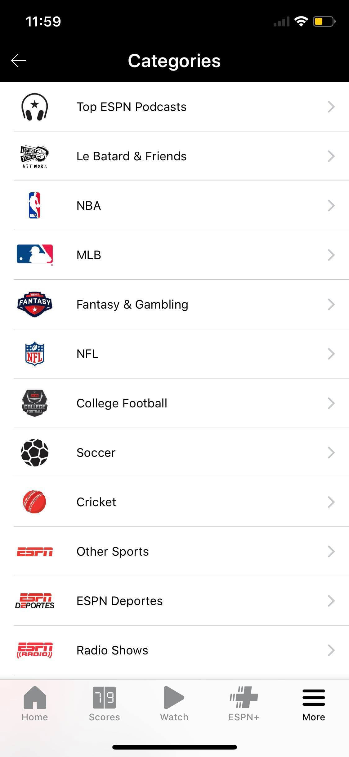 Categories on iOS by ESPN