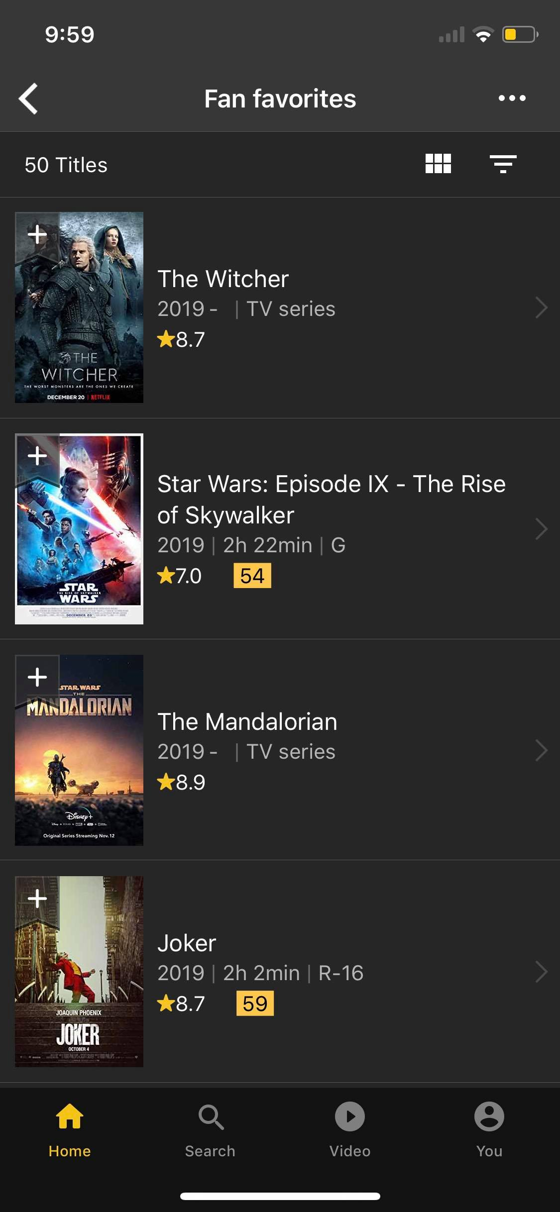 Fan Favorites on iOS by IMDb from UIGarage