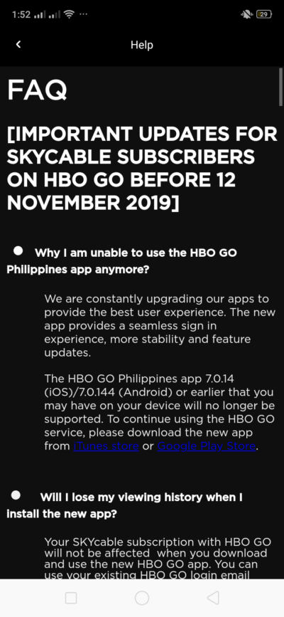 FAQ on Android by HBO GO from UIGarage