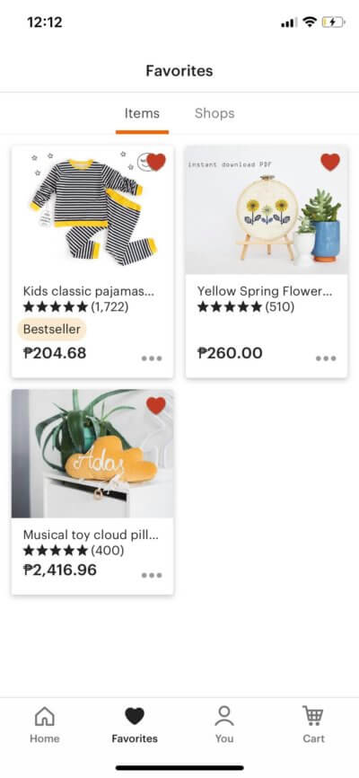 Favorites on iOS by Etsy from UIGarage