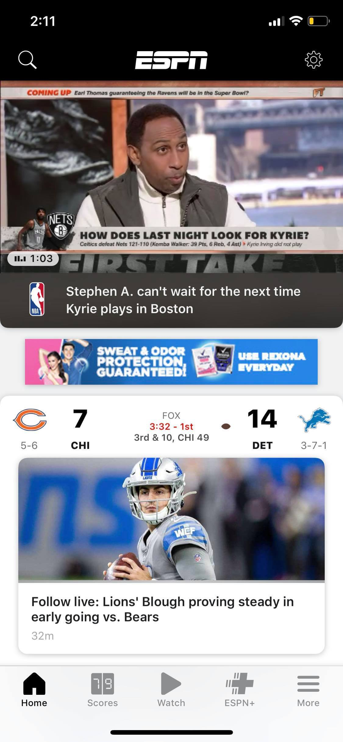 Home on iOS by ESPN
