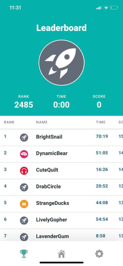 Leaderboard on iOS by Informable from UIGarage