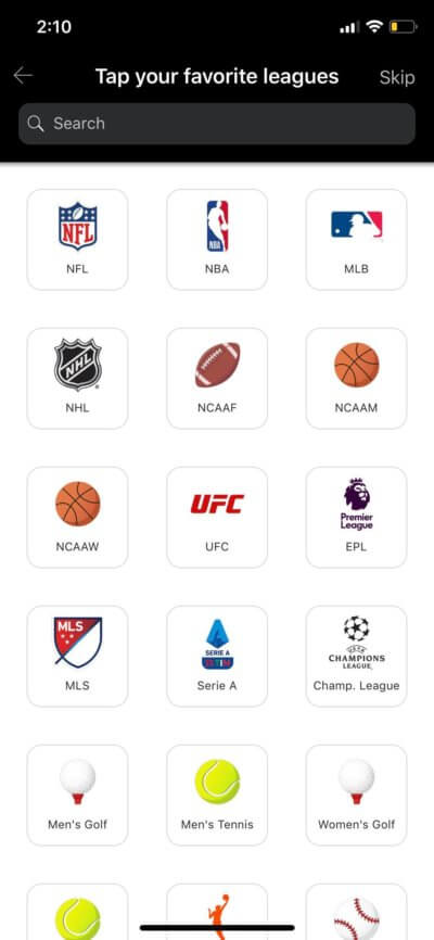 Leagues on iOS by ESPN from UIGarage