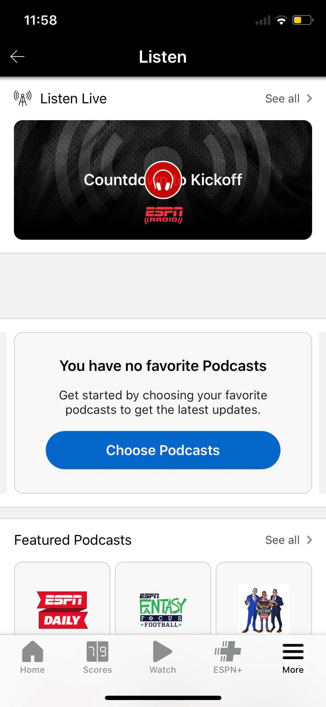 Listen on iOS by ESPN from UIGarage
