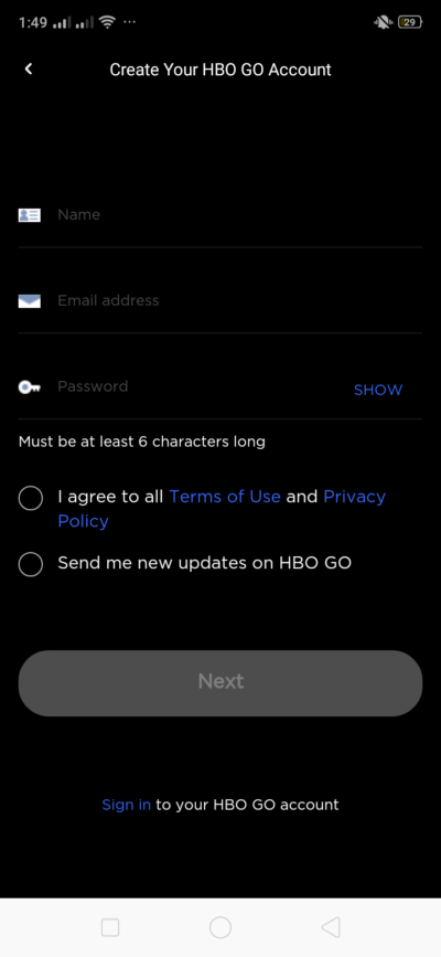 Register on Android by HBO GO from UIGarage