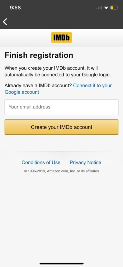 Register on iOS by IMDb from UIGarage
