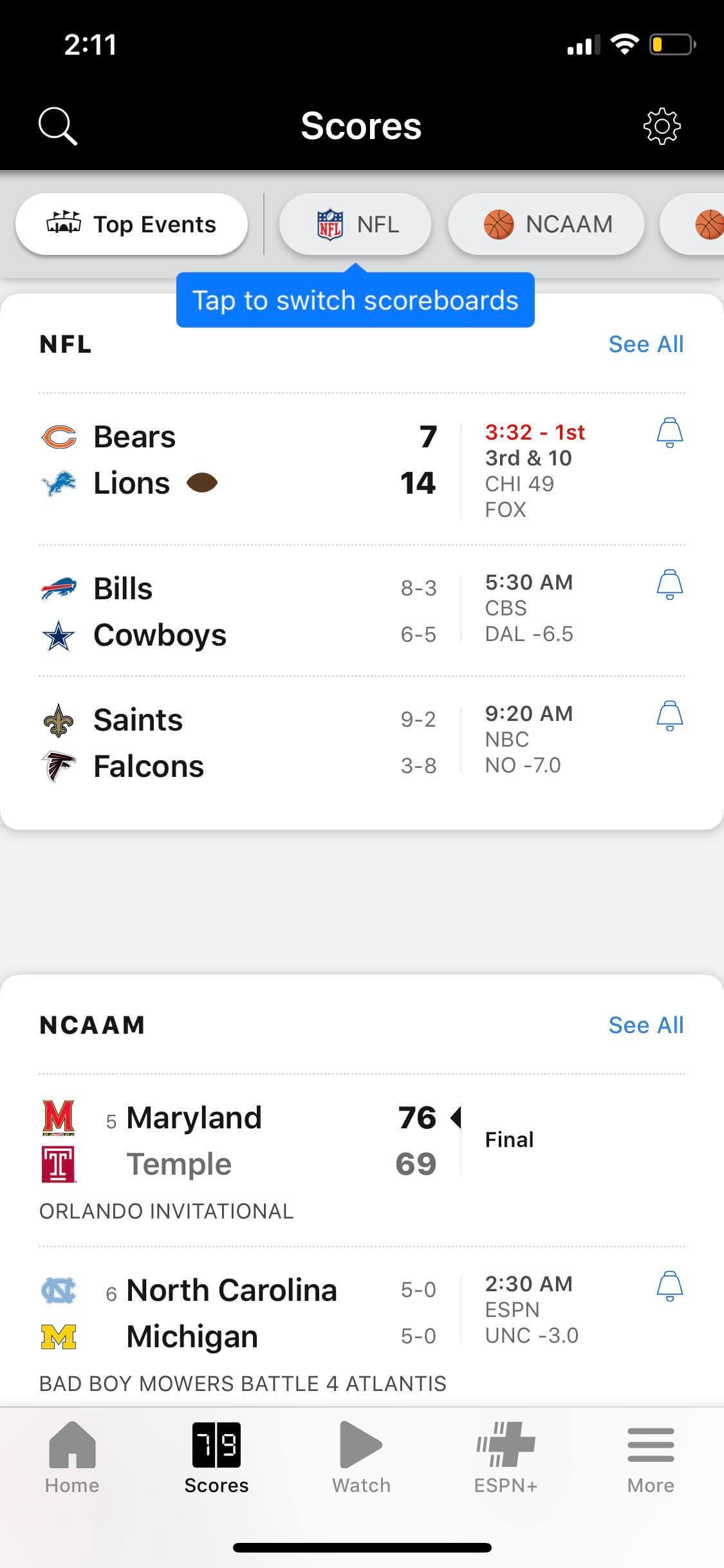 Scores on iOS by ESPN