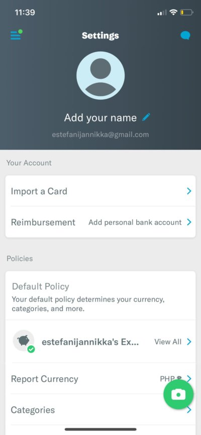 Settings on iOS by Expensify from UIGarage