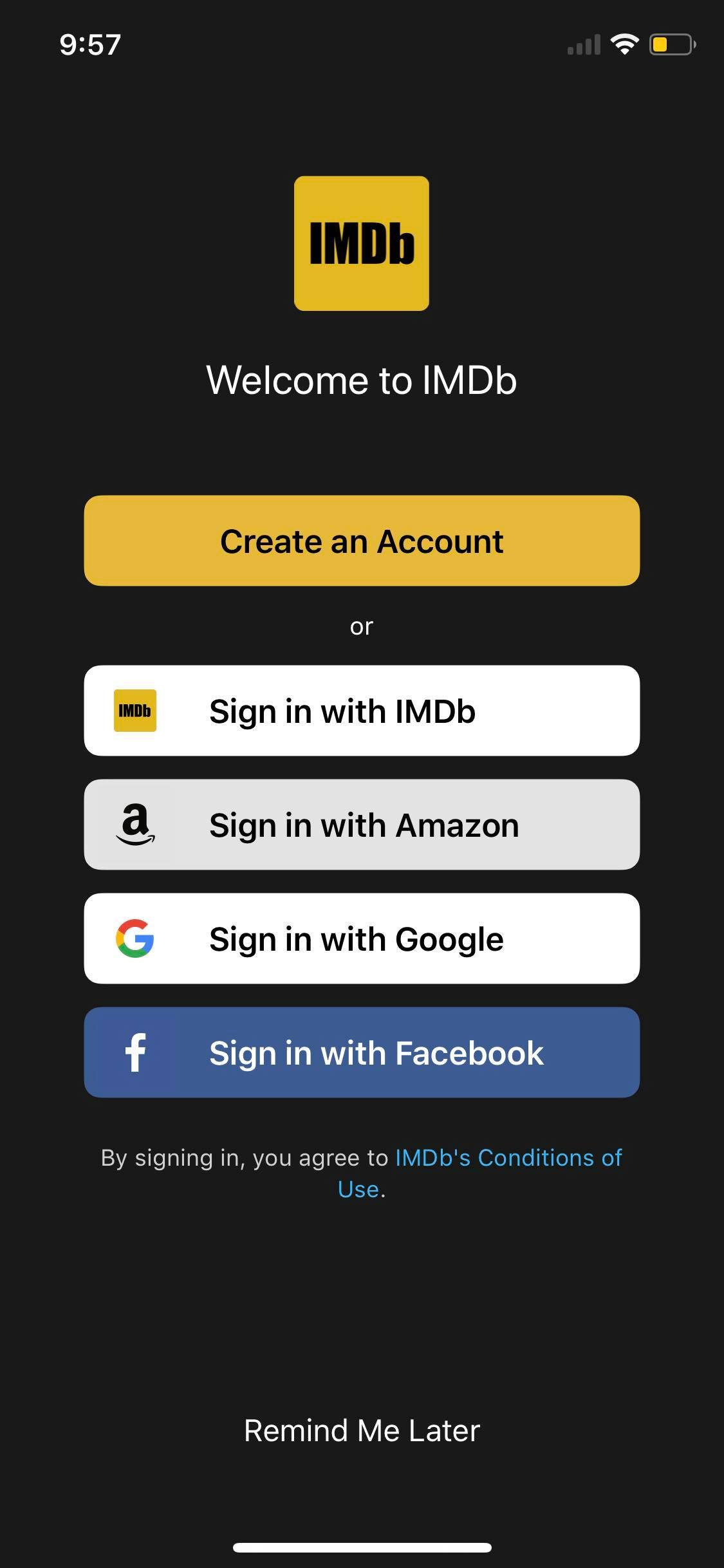 Sign In on iOS by IMDb from UIGarage