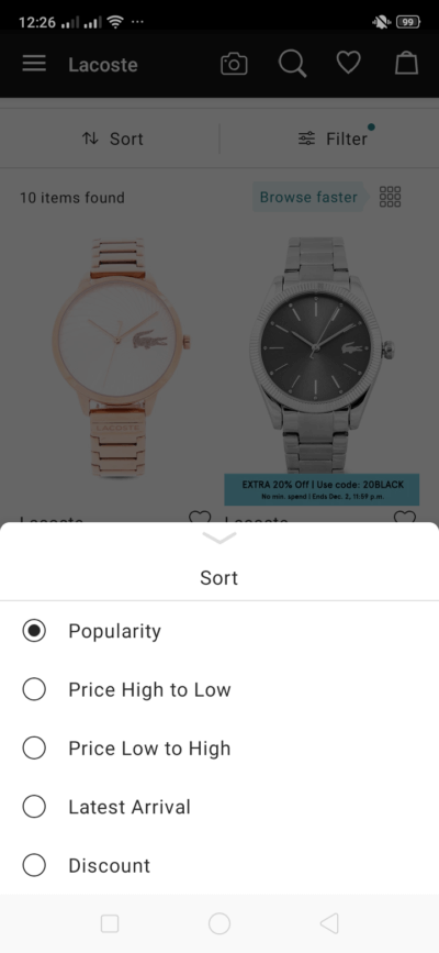Sort on Android by Zalora from UIGarage