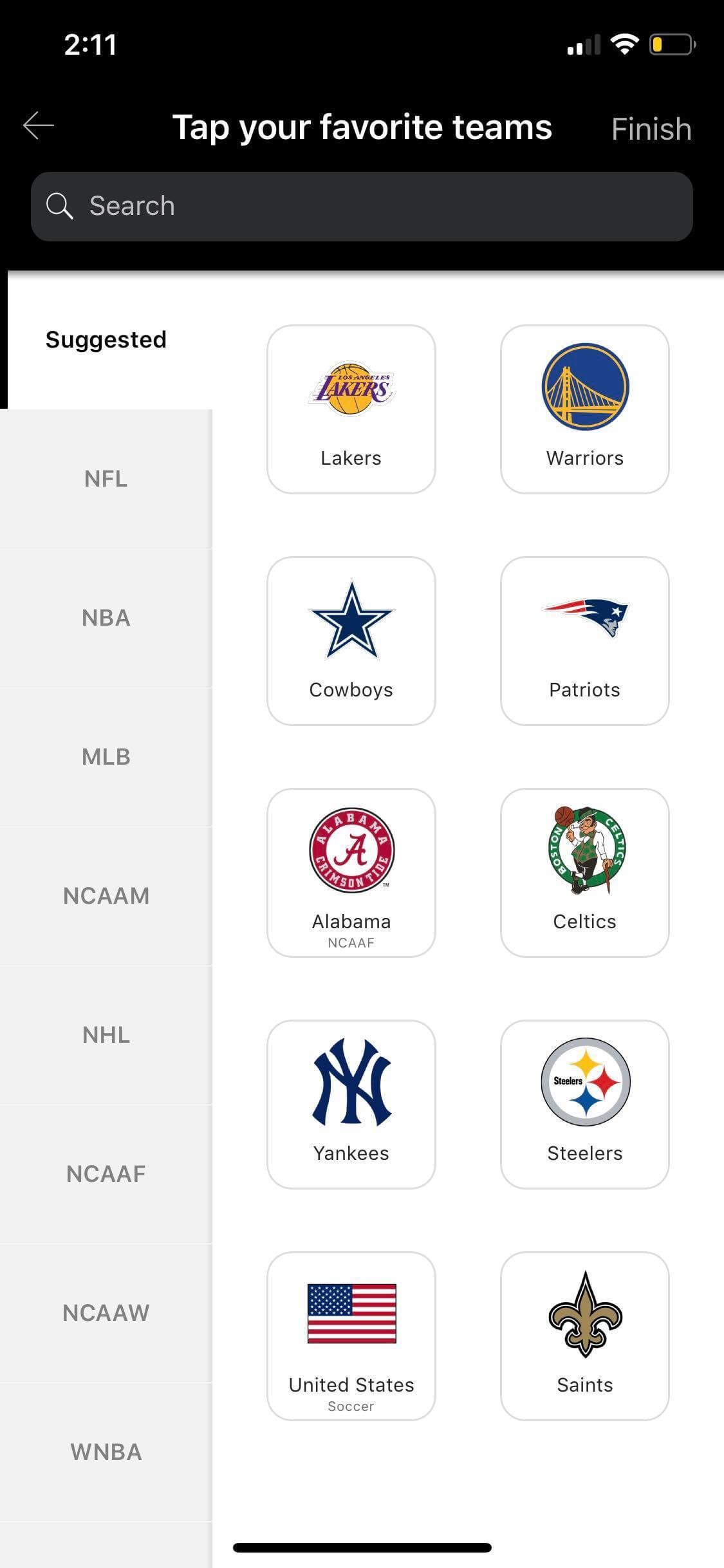 Teams on iOS by ESPN