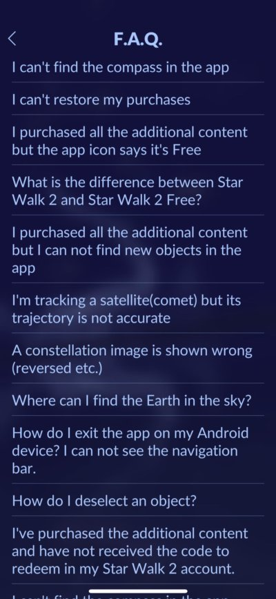 FAQ on iOS by Star Walk from UIGarage