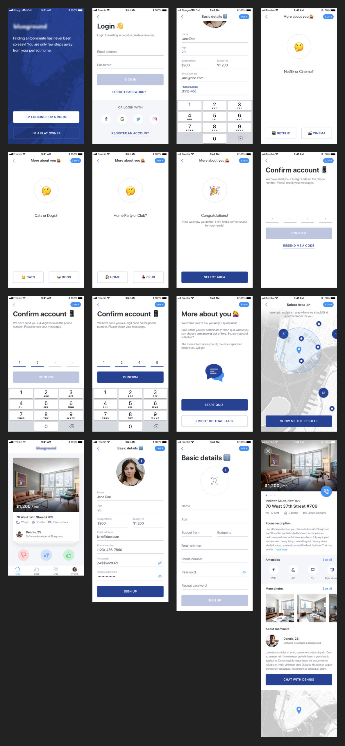 Find a Roommate Free UI Kit for Sketch from UIGarage