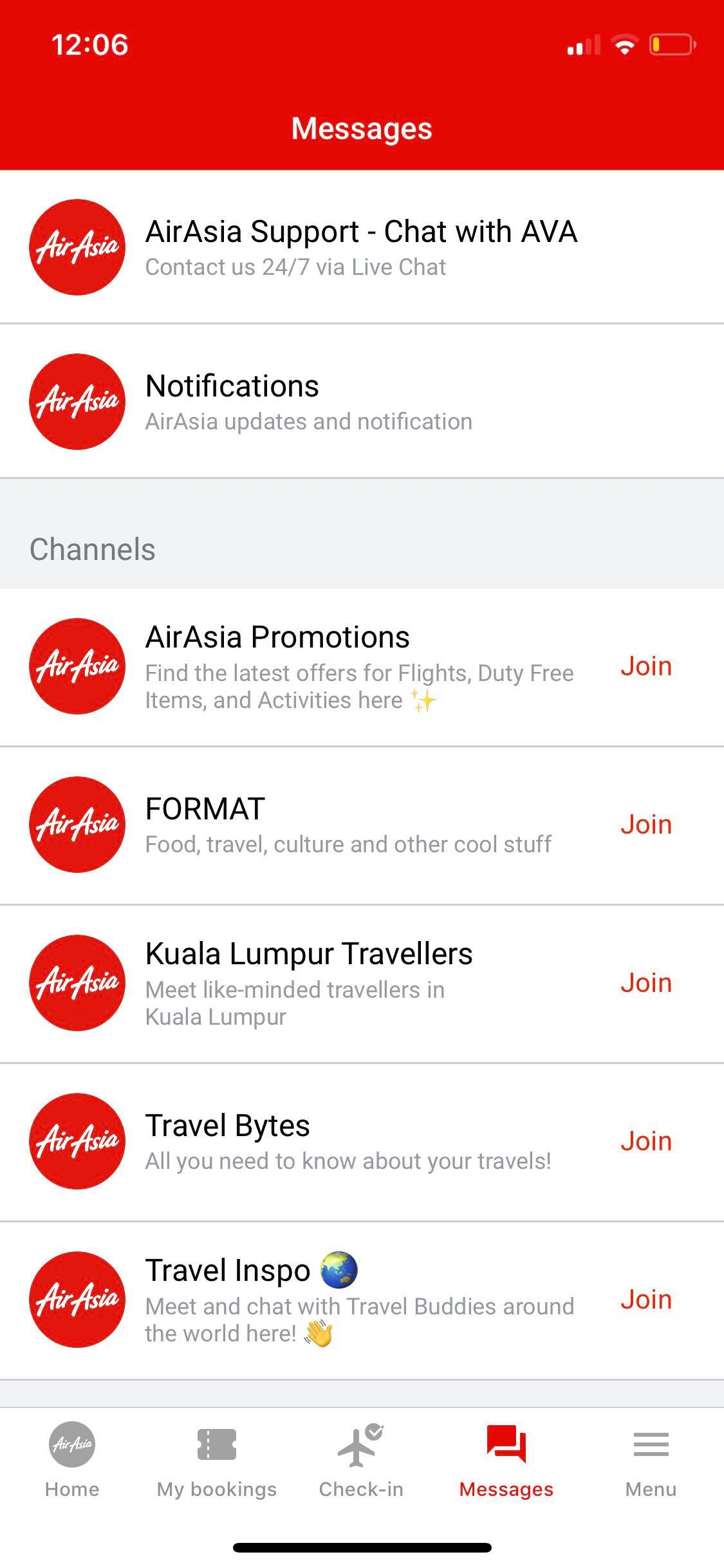 Messages on iOS by AirAsia from UIGarage