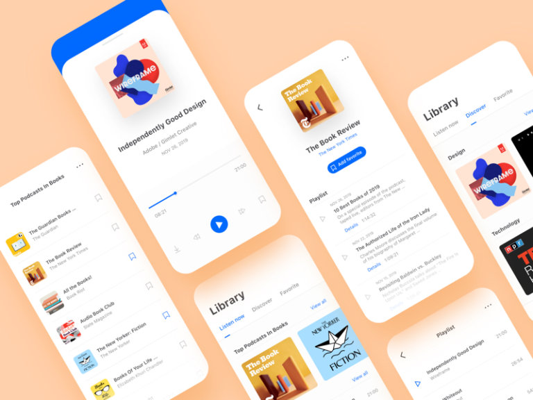 Podcast App UI Kit for Adobe XD from UIGarage