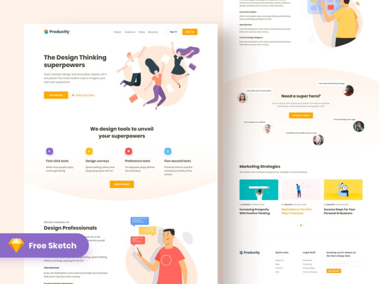 Productly - Free Landing Page for Sketch from UIGarage