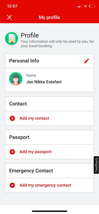 Profile on iOS by AirAsia from UIGarage