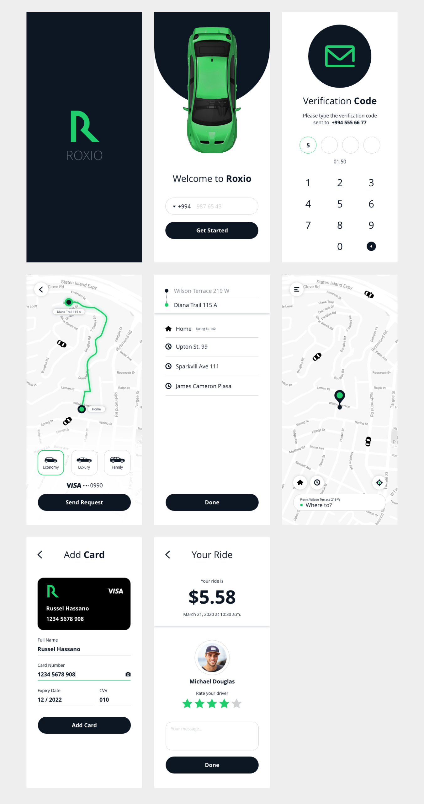 Roxio - Free Taxi App for Adobe Xd from UIGarage