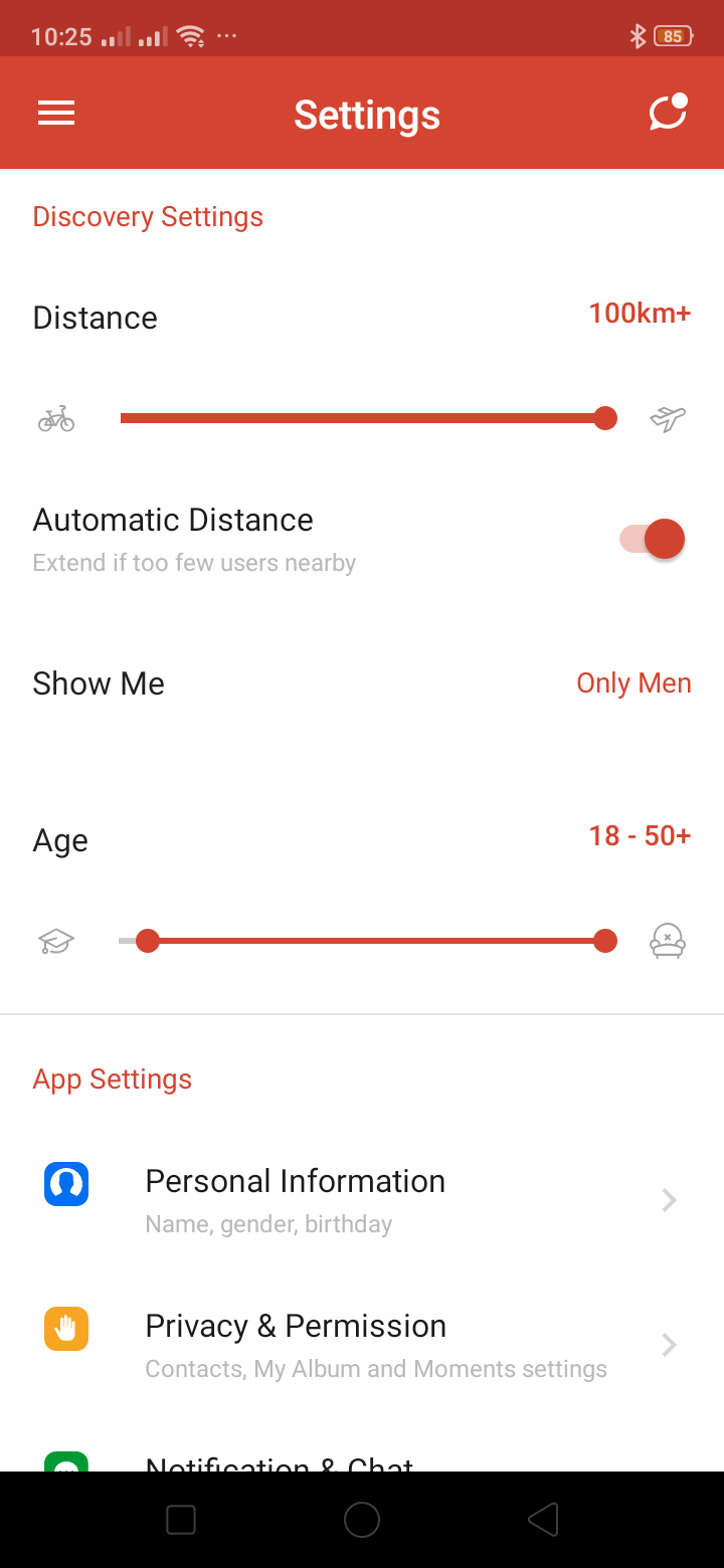 Settings on Android by Tantan from UIGarage