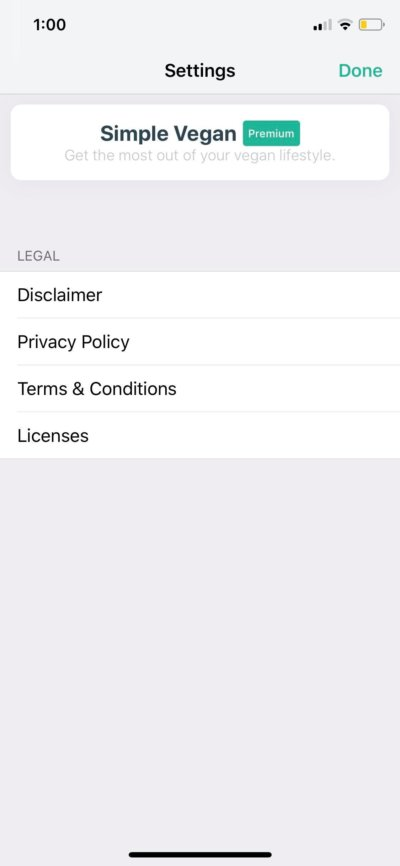 Settings on iOS by Simple Vegan from UIGarage