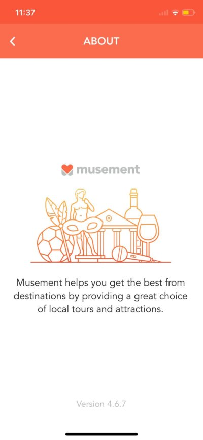 About on iOS by Musement from UIGarage