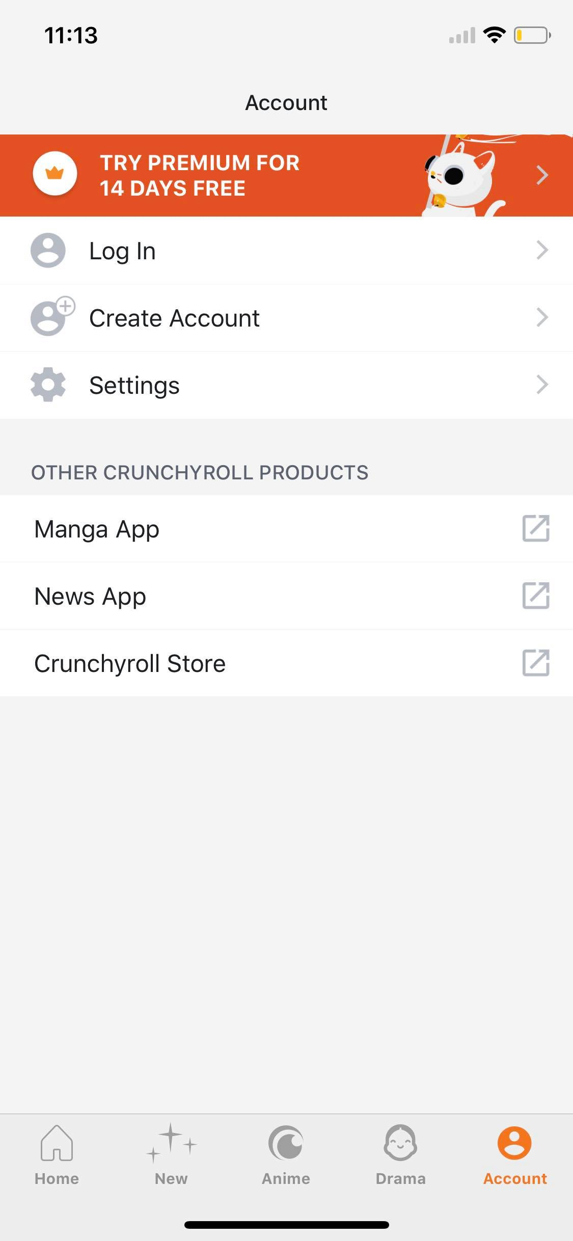 Account on iOS by Crunchy Roll from UIGarage