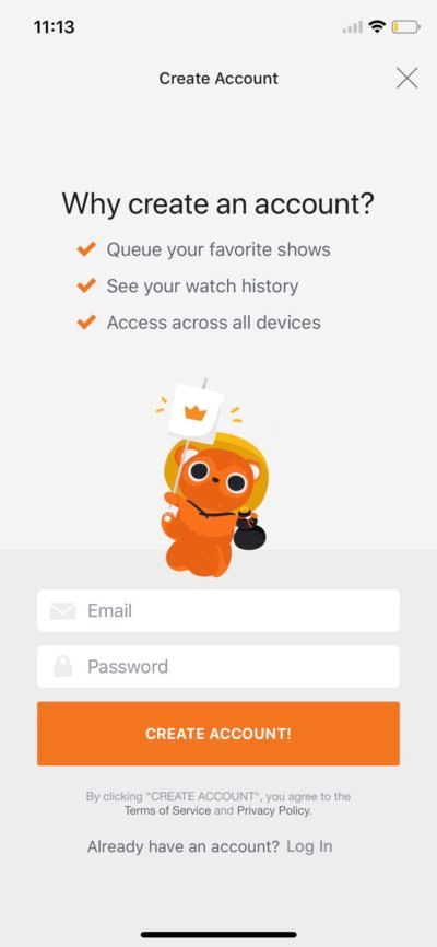 Create Account on iOS by Crunchy Roll from UIGarage