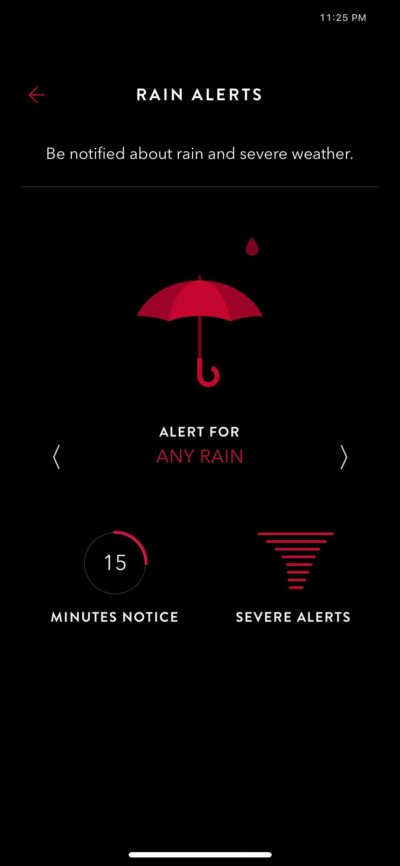 Rain Alerts on iOS by Time Page from UIGarage
