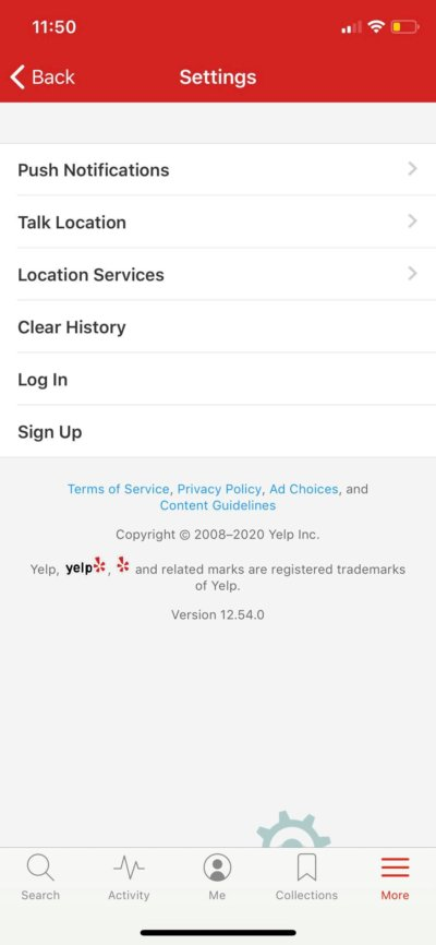 Settings on iOS by Yelp from UIGarage