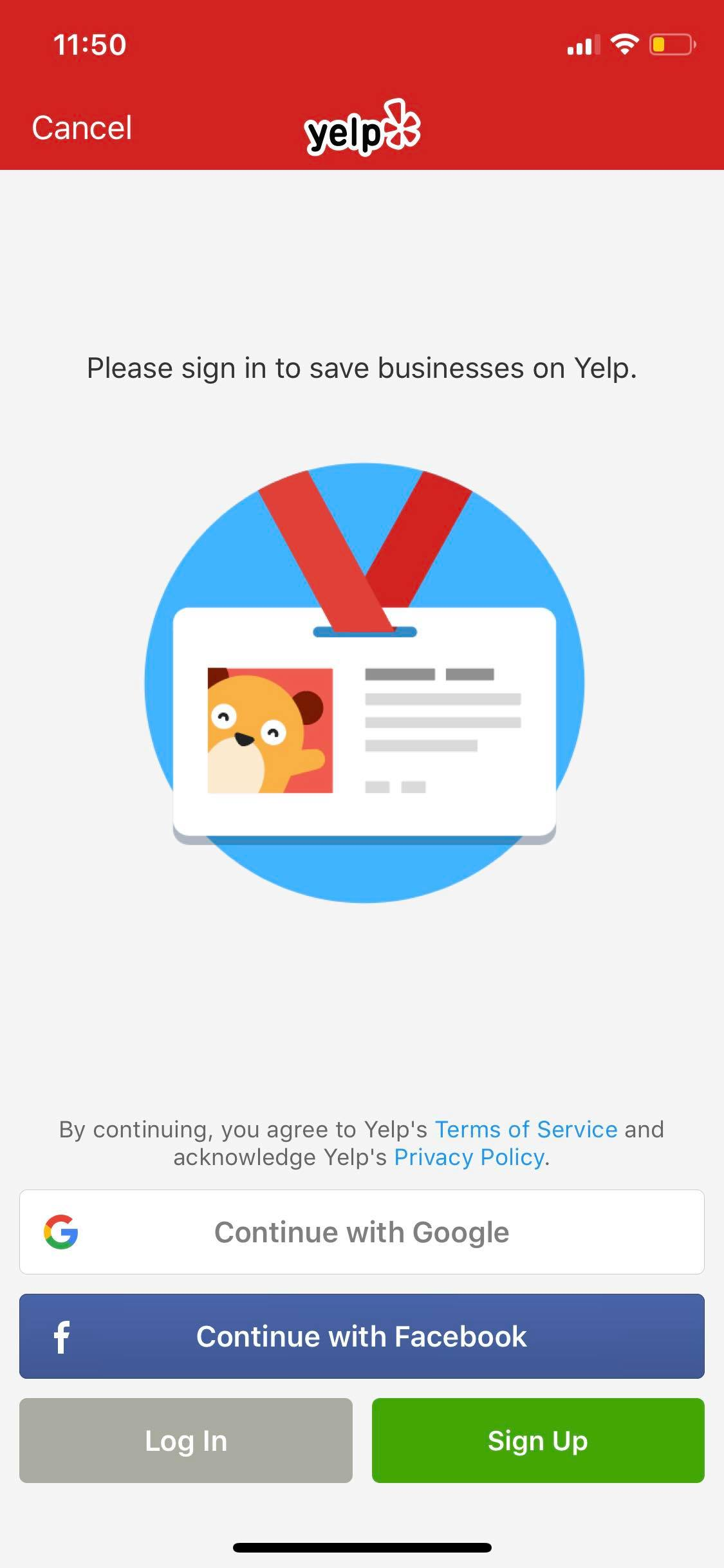 Sign in on iOS by Yelp from UIGarage
