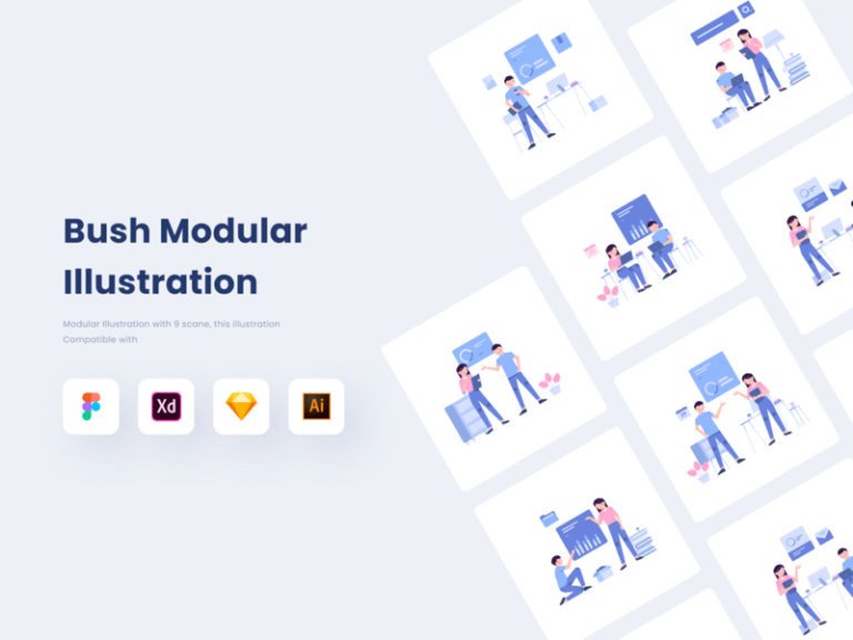 Bush Modular Illustration Kit from UIGarage