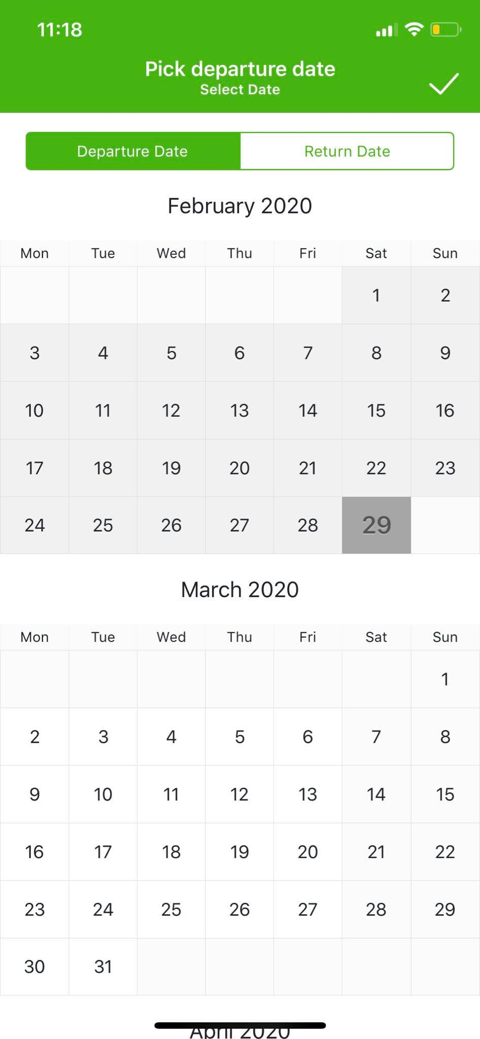 Calendar on iOS by Wego from UIGarage