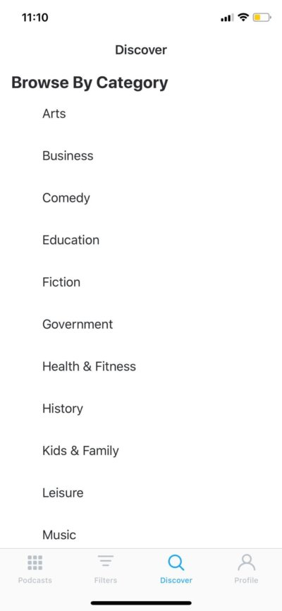 Categories on iOS by Pocket Casts from UIGarage