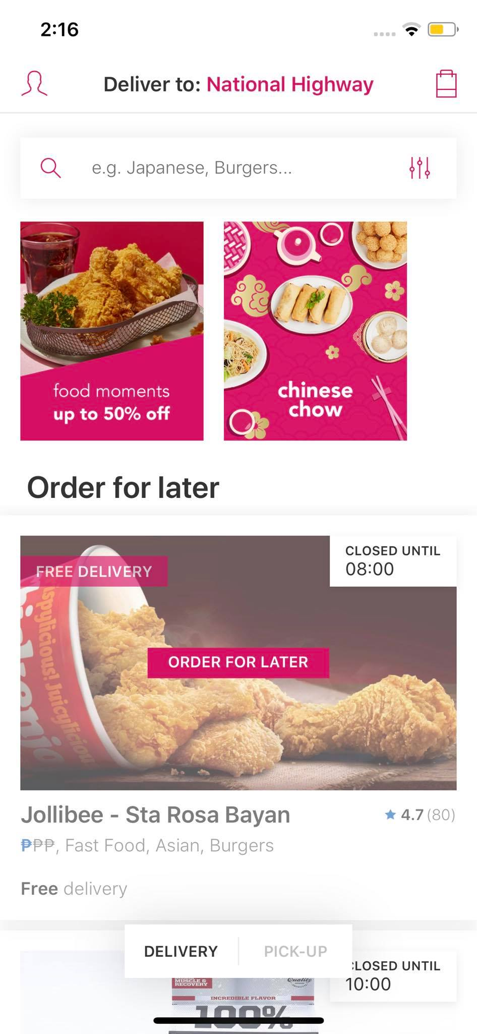 Content Screen on iOS by Food Panda from UIGarage