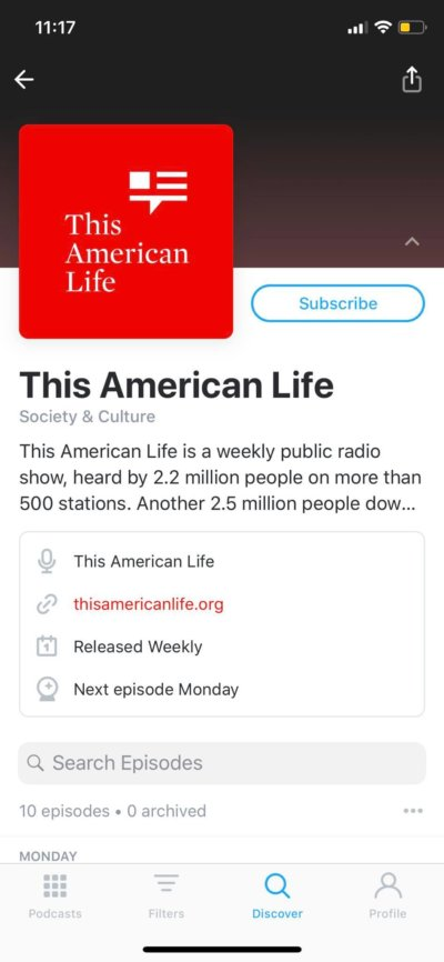 Content Screen on iOS by Pocket Casts from UIGarage