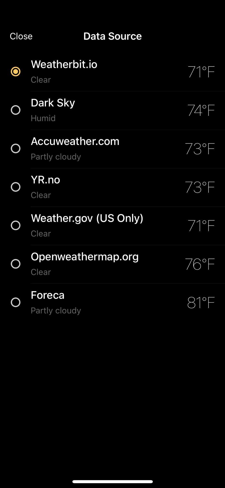 Data Source on iOS by Today Weather from UIGarage