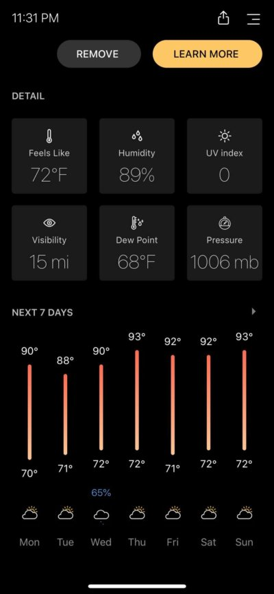 Detail on iOS by Today Weather from UIGarage