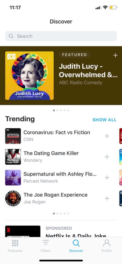 Discover on iOS by Pocket Casts from UIGarage