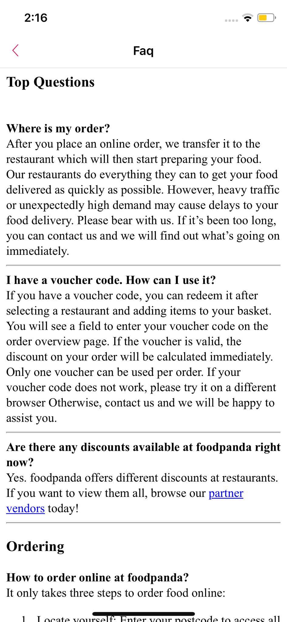 FAQ on iOS by Food Panda from UIGarage