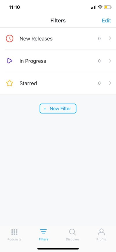 Filters on iOS by Pocket Casts from UIGarage