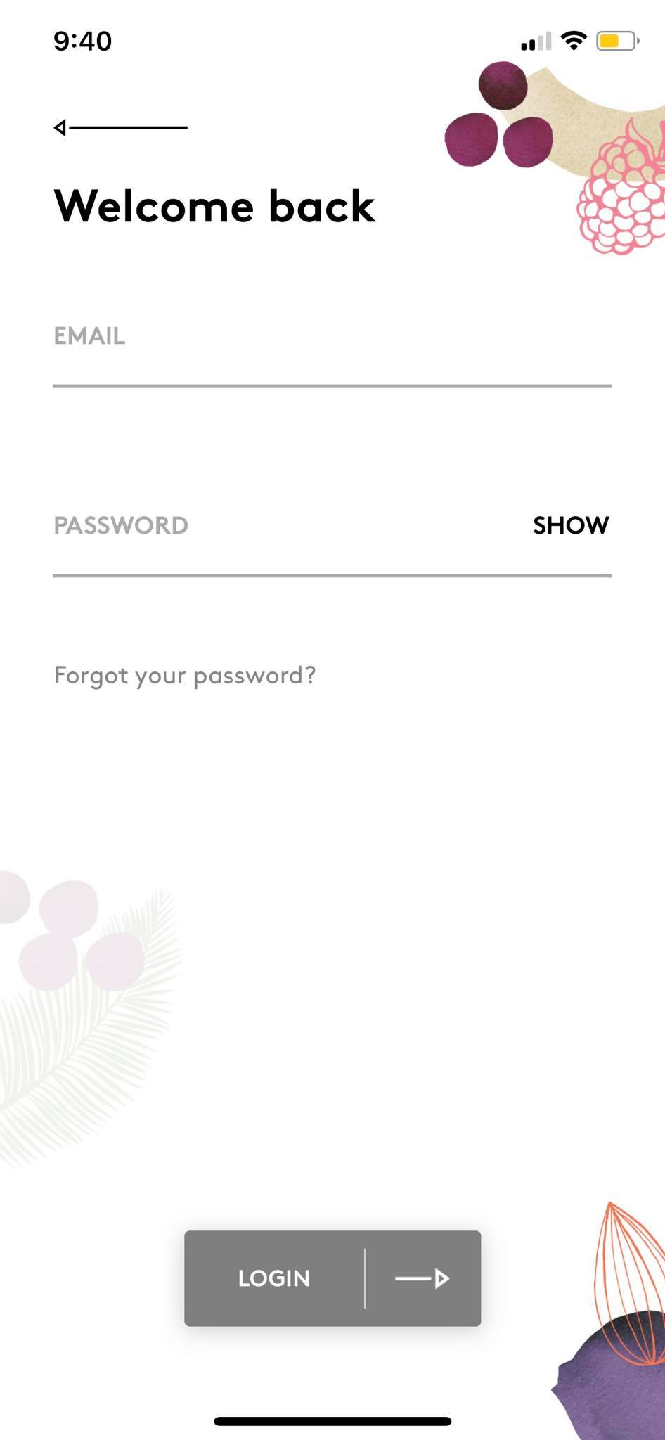 Login on iOS by Deliciously Ella from UIGarage